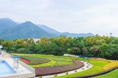 Vista de montañas y del césped verde imagenes de archivo