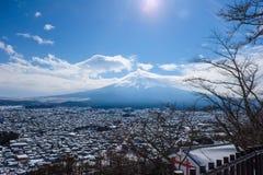 A vista de Monte Fuji de Kawaguchiko, Japão Fotografia de Stock Royalty Free