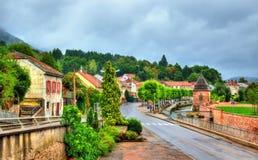 Vista de Moyenmoutier, una ciudad en las montañas de los Vosgos - Francia Imagenes de archivo