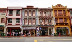 Vista de muitas casas velhas no bairro chinês, Singapura Fotografia de Stock