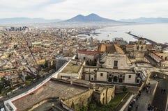 Vista de Nápoles del castillo Sant Elmo Imagenes de archivo