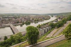 Vista de Namur e do Meuse fotos de stock