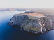 Vista de Nordkapp, o cabo norte, Noruega, o ponto o mais northernmost do continente Noruega e Europa foto de stock