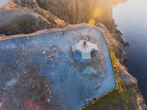 Vista de Nordkapp, o cabo norte, Noruega, o ponto o mais northernmost do continente Noruega e Europa imagens de stock