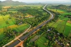 Vista de pájaro del campo del arroz Imágenes de archivo libres de regalías