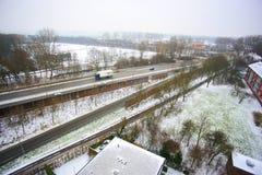 Vista de pájaro del día de la nieve Imagenes de archivo
