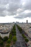 Vista de París de Arco del Triunfo Imágenes de archivo libres de regalías