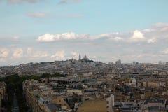 Vista de París de Arco del Triunfo Imagen de archivo libre de regalías