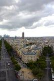 Vista de París desde arriba de Arc de Triomphe Imagen de archivo libre de regalías