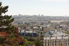Vista de Paris da parte superior do monte de Montmartre Fotos de Stock Royalty Free