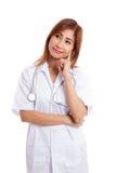 Vista de pensamento do doutor fêmea novo asiático acima Fotos de Stock Royalty Free