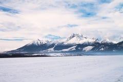 Vista de picos e de neve de montanha no tempo de inverno, Tatras alto Imagens de Stock