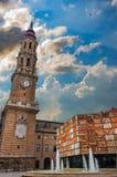 Vista de Pilar Square na catedral do salvador ou do La Seo Imagens de Stock