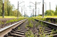 Vista de pistas ferroviarias imagenes de archivo
