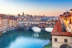Vista de Ponte Vecchio Florencia Foto de archivo libre de regalías
