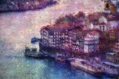 Vista de Porto com o Ribeira sobre o rio de Douro ilustração royalty free