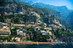 Vista de Positano, costa de Amalfi, Italia fotografía de archivo