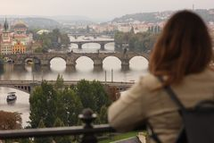 Vista de Praga de cima de foto de stock royalty free
