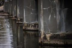Vista de restauración del lago ancho con agua azul pedregosa de la orilla y del claro Puente sobre el río Árboles cerca del agua fotografía de archivo libre de regalías