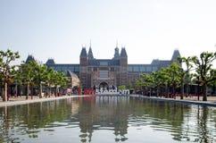 Vista de Rijksmuseum em Amsterdão Imagem de Stock Royalty Free