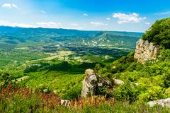 Vista de River Valley na montanha Foto de Stock