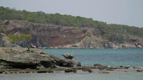 Vista de rocas y de árboles hermosos cerca del mar en Turquía almacen de metraje de vídeo
