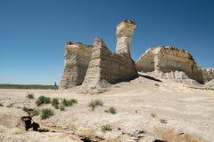 Vista de rochas do monumento em Kansas ocidental fotos de stock royalty free