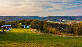 Vista de Rolling Hills em Frederick County rural, Maryland Imagem de Stock Royalty Free