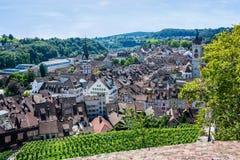 Vista de Schaffhausen de la fortaleza de Munot fotografía de archivo libre de regalías