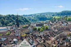 Vista de Schaffhausen de la fortaleza de Munot foto de archivo