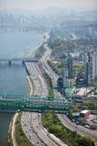 Vista de Seul a partir del 63 que construyen Foto de archivo