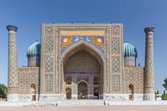 Vista de Sher-Dor Madrasah em Samarkand, Usbequistão Fotografia de Stock Royalty Free