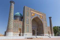 Vista de Sher-Dor Madrasah em Samarkand, Usbequistão Imagens de Stock Royalty Free