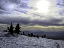 Vista de Ski Santa Fe Southwest às montanhas de Sandia Fotos de Stock Royalty Free