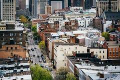 Vista de St Paul Street, en Mount Vernon, Baltimore, Maryland Imagen de archivo