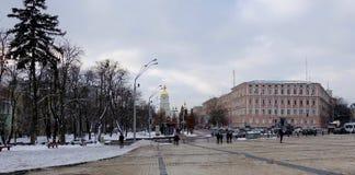 Vista de St Sophia Cathedral do quadrado do ` s de St Michael em Kiev imagem de stock royalty free