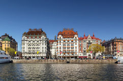 Vista de Strandvagen, Éstocolmo Fotografia de Stock Royalty Free