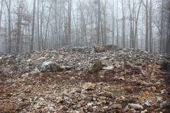 Vista de tierra de la roca Hawk Effigy Mound foto de archivo