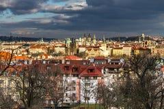 Vista de torres de Praque - Praga, República Checa Foto de Stock Royalty Free