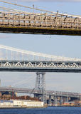 Vista de tres puentes en Nueva York Fotos de archivo libres de regalías
