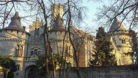 Vista de um castelo alemão visto atrás das árvores fotos de stock