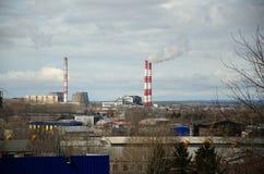 Vista de um central elétrica térmico Imagem de Stock Royalty Free