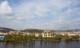 Vista de um dos bancos do rio de Vltava Imagens de Stock Royalty Free