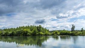 Vista de um rio com a floresta no outro lado Imagens de Stock
