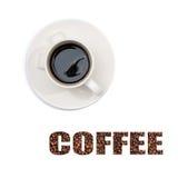 Vista de uma chávena de café na parte superior com subtítulos Imagens de Stock