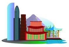 Vista de uma cidade asiática Foto de Stock Royalty Free