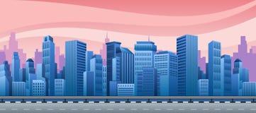 Vista de uma cidade da noite ilustração stock