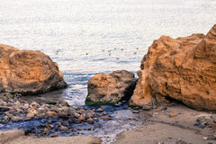 Vista de uma costa e de um mar rochosos imagem de stock