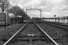 Vista de uma estrada de ferro em Eindhoven Fotografia de Stock Royalty Free
