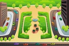 Vista de uma estrada e de um parque de cima de Fotografia de Stock Royalty Free